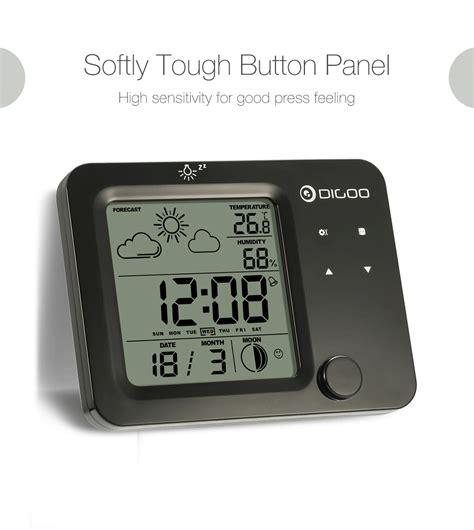 Jam Alarm Led Thermometer Hygrometer Forecast Weather Station digoo touch sensor hygrometer thermometer weather forecast station alarm clock ebay