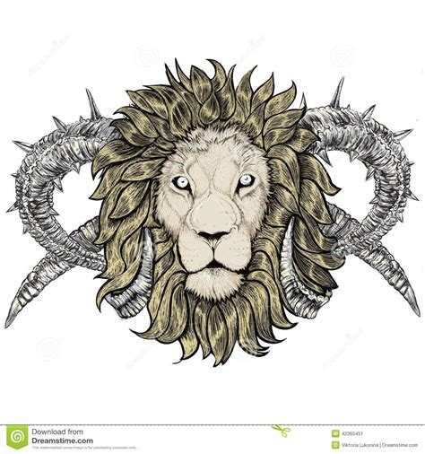 sketch of tattoo lion with horns stock vector image