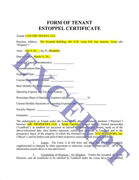 certification letter for a tenant tenant estoppel letter