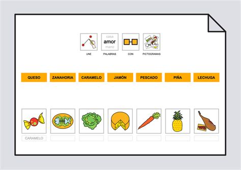pictogramas alimentos relaciona texto con fotos y pictogramas los alimentos