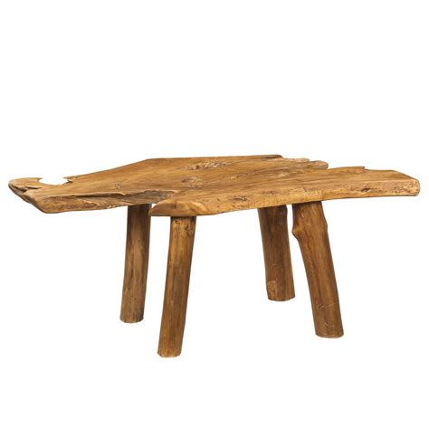 teak slab coffee table with teak legs from wrightwood