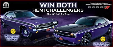Dream Giveaways - two 426 hemi challengers 50 000 for taxes