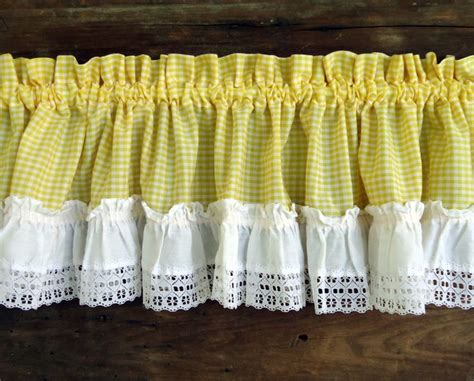 yellow gingham kitchen curtains vintage curtains valances panels yellow gingham check