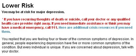 webmd's depression test has only one (sponsored) answer