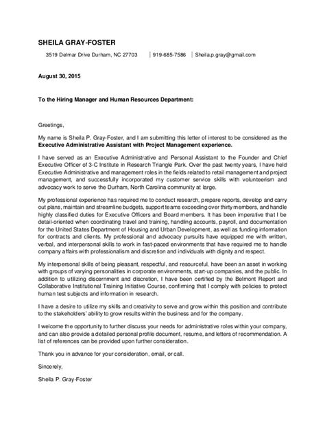 cover letter for project assistant position gallery of project manager assistant cover letter sle
