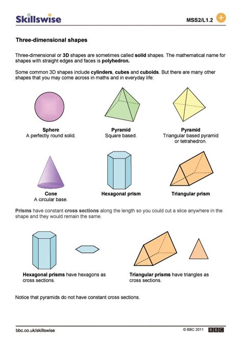 printable 3 dimensional shapes properties of 3d shapes new calendar template site