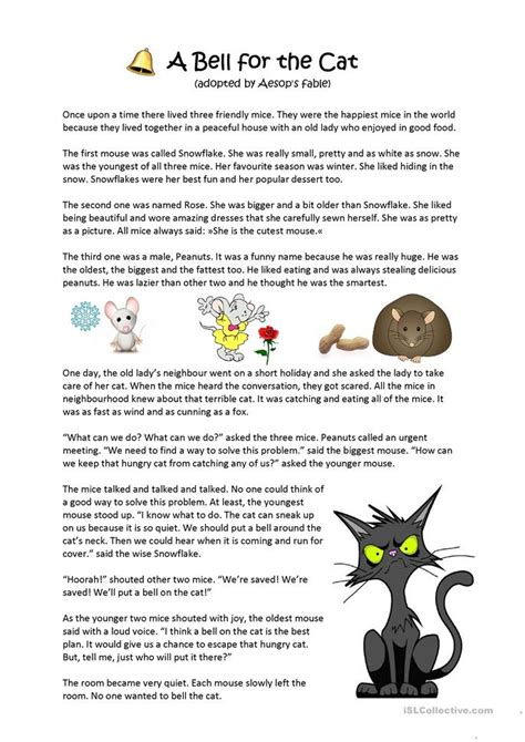 Fables Comprehension Worksheets by Aesop S Fable A Bell For The Cat Worksheet Free Esl