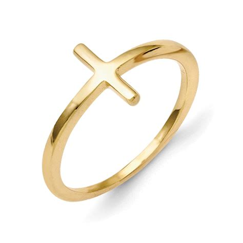 Crossed Ring 14k yellow gold plain sideways cross fashion ring