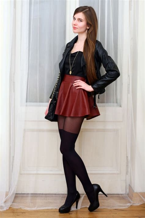 Benita Heels by Leather Jacket And Leather Skirt With Tights And Heels
