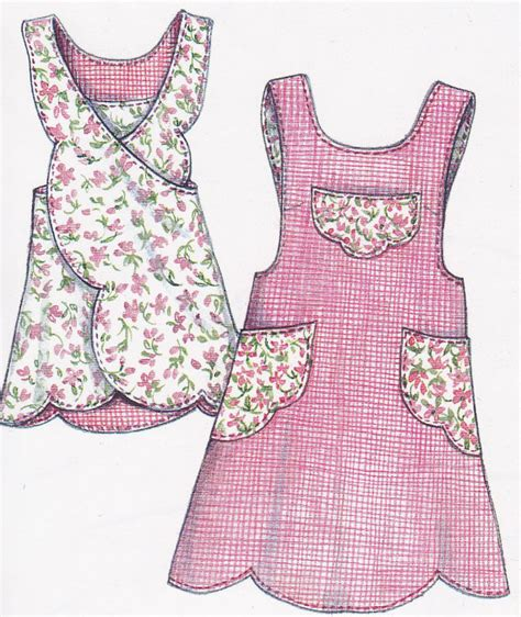 pattern reversible apron cute scalloped crossover apron pattern uncut by handyhousewife