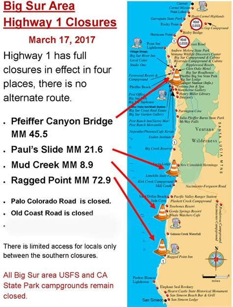 Pch Big Sur Road Closure - map us highway 1 28 images file u s route 1 in new york map svg wikimedia commons