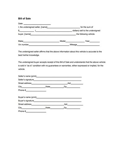 General Bill Of Sale Form Free Download Create Edit Fill General Bill Of Sale Template
