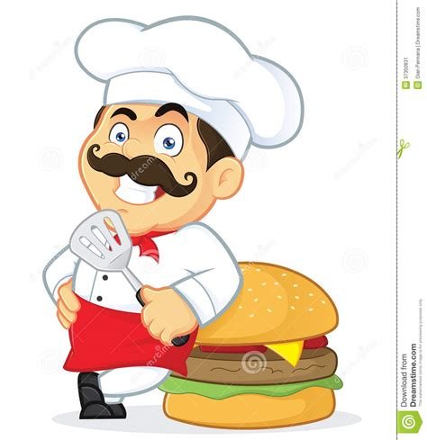 Catering Kitchen Design by Chef With Giant Burger Stock Image Image 37350831