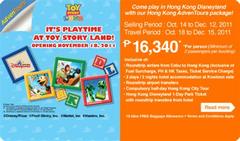 Disney Land Hongkong Promo Ticket Child 03 11 Yrs hong kong adventours package with airphil express