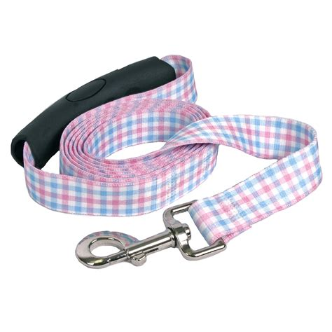 southern comfort handle southern dawg gingham pink blue ez grip dog leash by
