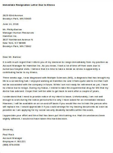 resignation letter due to illness template sle immediate resignation letter 7 exles in word pdf