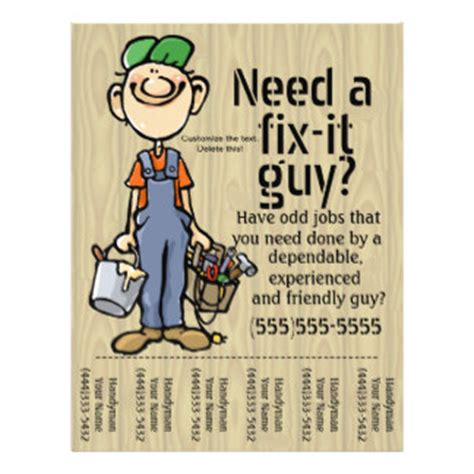 free handyman flyer template handyman flyers programs zazzle