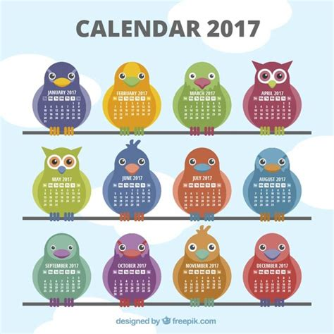 Types Of Calendars 2017 Calendar With Different Types Of Birds Vector Free