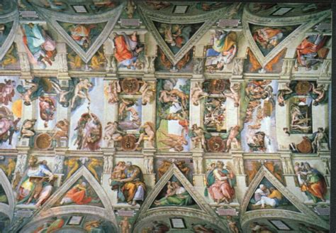 The Painting On The Ceiling Of The Sistine Chapel by Michaelangelo Painting The Ceiling Of The Sistine Chapel