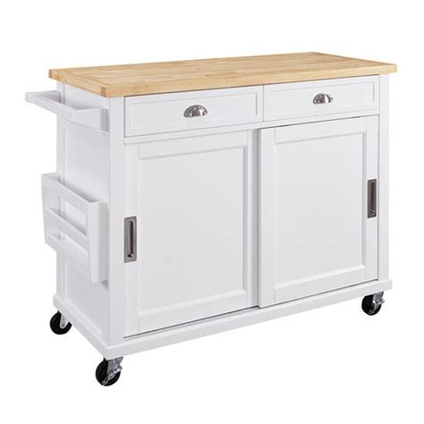 kitchen cart 2 door storage with 2 drawers and hidden k464906whtabu sherman mobile kitchen cart in white with