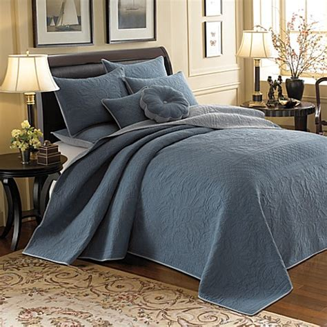 bed bath and beyond vallejo vallejo blue reversible bedspread 100 cotton bed bath