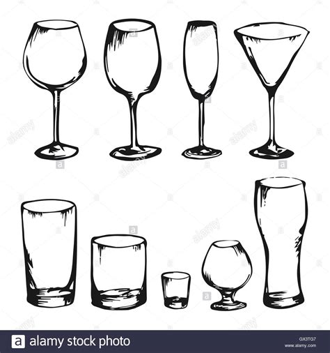 cocktail sketch collection of hand drawing vector drinks and glasses
