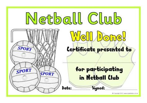 netball club award certificates sb8027 sparklebox