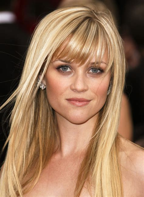 blonde celebrities with long faces top 10 celebrity hairstyles with full bangs fringes