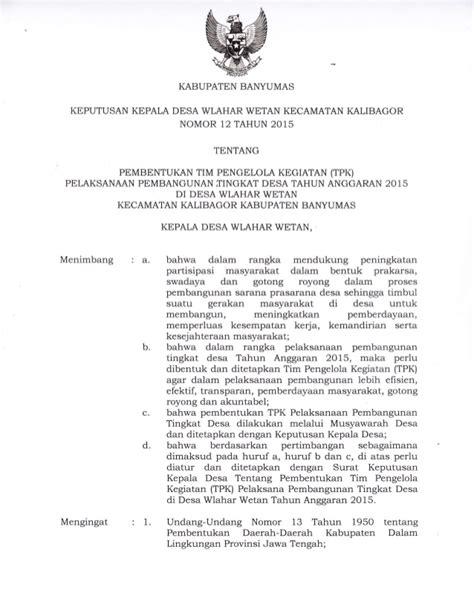 keputusan kepala desa wlahar wetan no 12 tahun 2015 tentang pembentuk