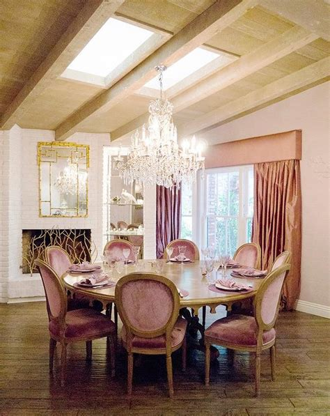 Round Dining Room Tables Seats 8 by Pink French Dining Rooms Transitional Dining Room
