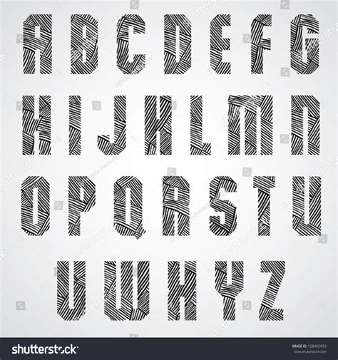 hand drawn pattern font geometric shape bold poster letters font stock vector