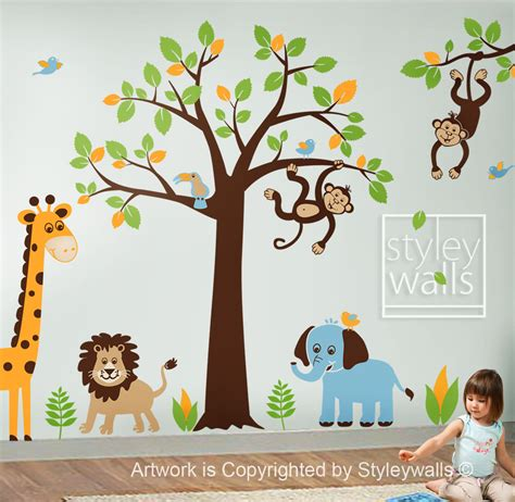 children wall decal safari tree decal jungle by styleywalls