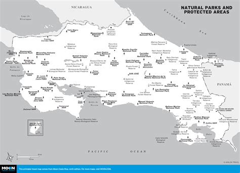 maps of costa rica map of national parks and protected areas in costa rica