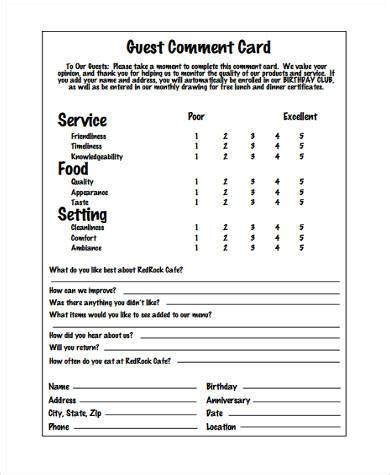 restaurant comment card free templates 27 images of helpful employee comment card template