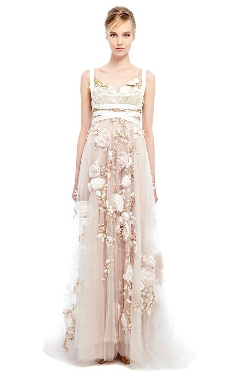 Marchesa 3d Silk Ribbon Rose Empire Waist Gown in Natural