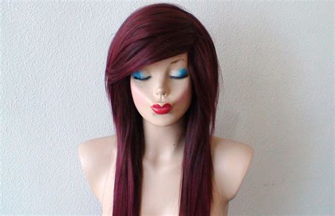 emo hairstyles wigs scene wig emo wig burgundy red ombre wig long straight