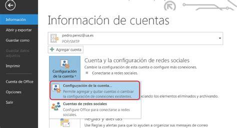 Crear Una Configuravion De Mba datos necesarios para acceso al correo ua servicio de