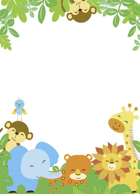 baby jungle animal border clip baby animal clipart frame pencil and in color baby