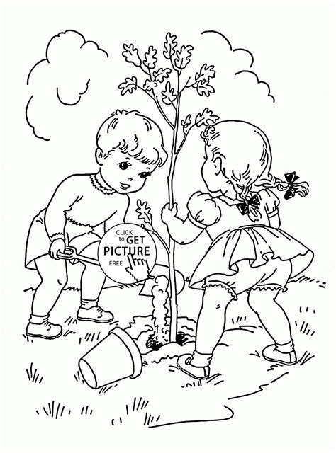Coloring Page Children With Tree Coloring Home Coloring Pages For Small Children