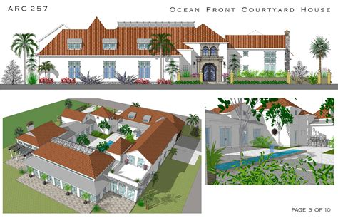 courtyard style house plans large home plans designed by arcadia design oceanfront