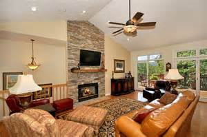 floor to ceiling fireplace vaulted ceiling