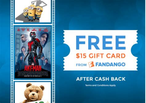 15 Fandango Gift Card - free 15 fandango gift card new topcashback members points miles martinis