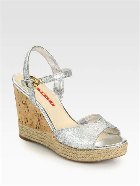 silver cork wedge sandals prada glitter cork wedge sandals in silver argento silver