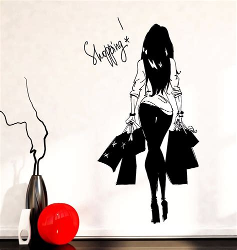wall sticker shopping shopping bag clothes shop vinyl wall decal wall sticker clothes store