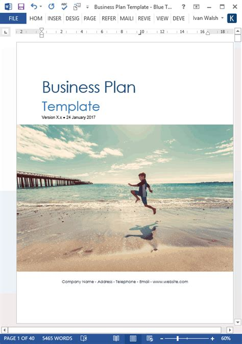 business template word business plan templates 40 page ms word 10 free excel