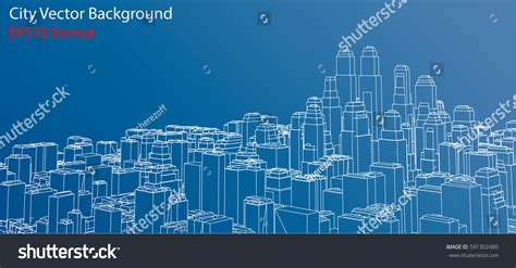 layout vector rendering wireframe city blueprint style 3d rendering stock vector