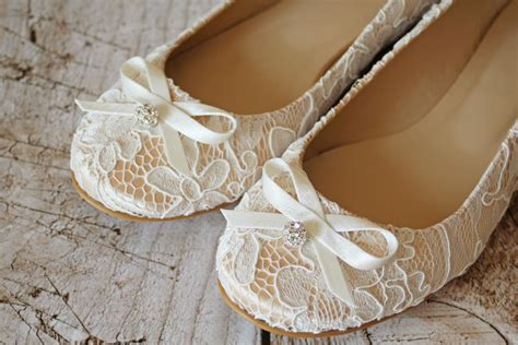 flache brautschuhe ballerinas spitze creme beige - Braut Ballerinas Ivory