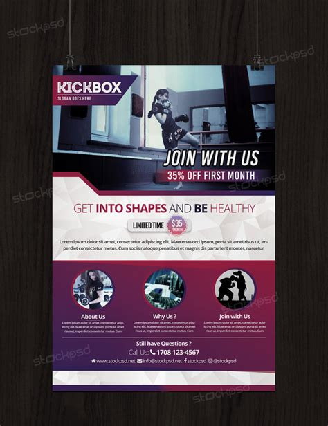 Kick Boxing And Gym Free Psd Flyer Template By Stockpsd On Deviantart Kicks Flyer Template 2