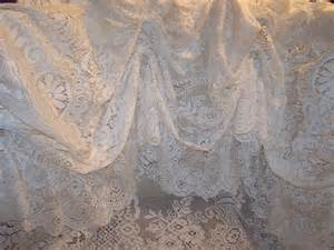 French Country Shower Curtain Ivory Vintage Lace Victorian Style Shower Curtain Draped