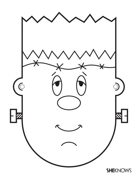 monster mask coloring page monster activities frankenstein head coloring page could